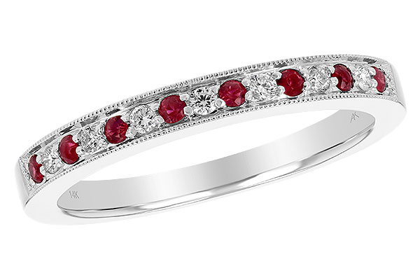 C238-78477: LDS RUBY/DIA WED RG .12 RUBY .21 TGW