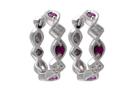 H056-00276: EARRINGS .20 RUBY .25 TGW
