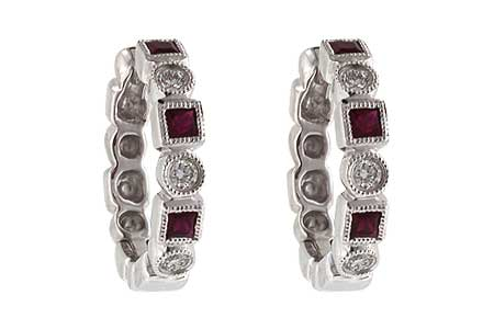 K151-53003: EARRINGS .27 RUBY .39 TGW